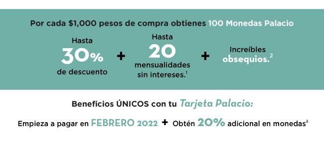 Por cada $1,000 pesos de compra obtienes 100 Monedas Palacio