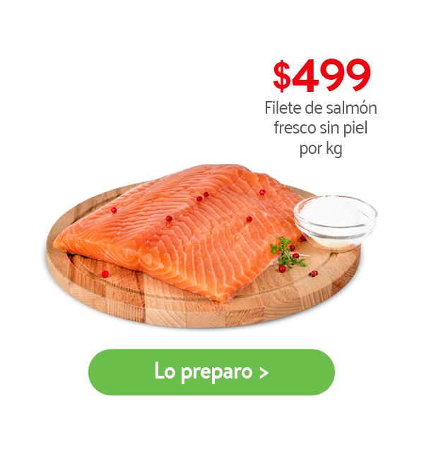 Filete de salmón fresco sin piel por kilo